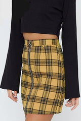 High Waist Bodycon Plaid Mini Skirt