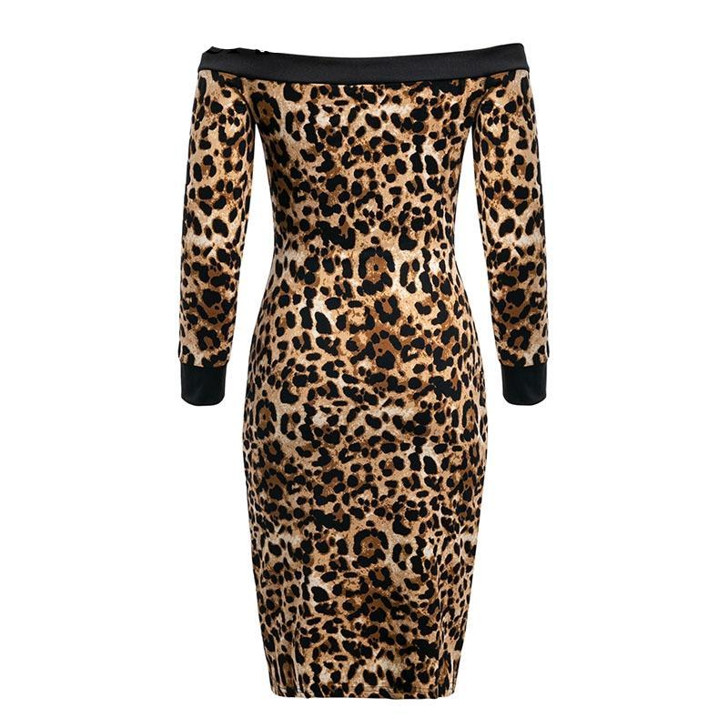 Leopard Print Off The Shoulder Slit Midi Dress