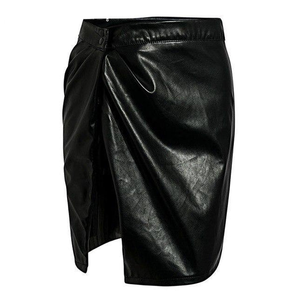 Asymmetric Side Slit Vegan Leather Skirt