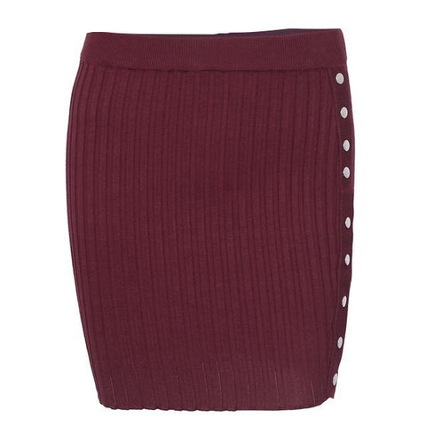 High Waist Knitted Side Slit Skit