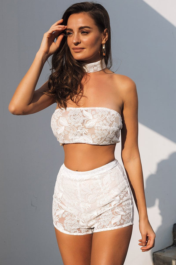 Floral Lace Crop Top With Choker And Shorts Set