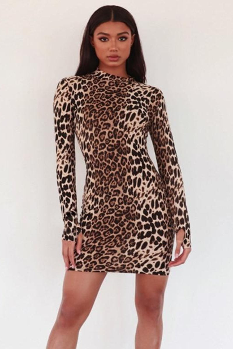 turtleneck dress sexy dresses sexy dress party dress minidresses mini dress long sleeve winter dress long sleeve dresses leopard print dress cocktail dresses