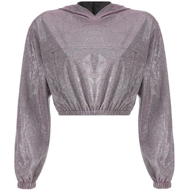 Shine Bright Long Sleeve Hooded Crop Sweatshirt