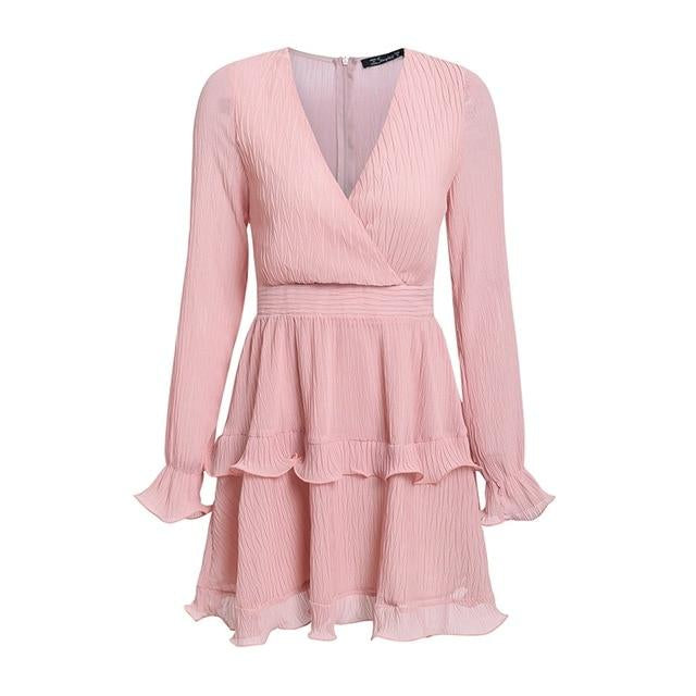 V-Neck Ruffle Layered Long Sleeve Mini Dress