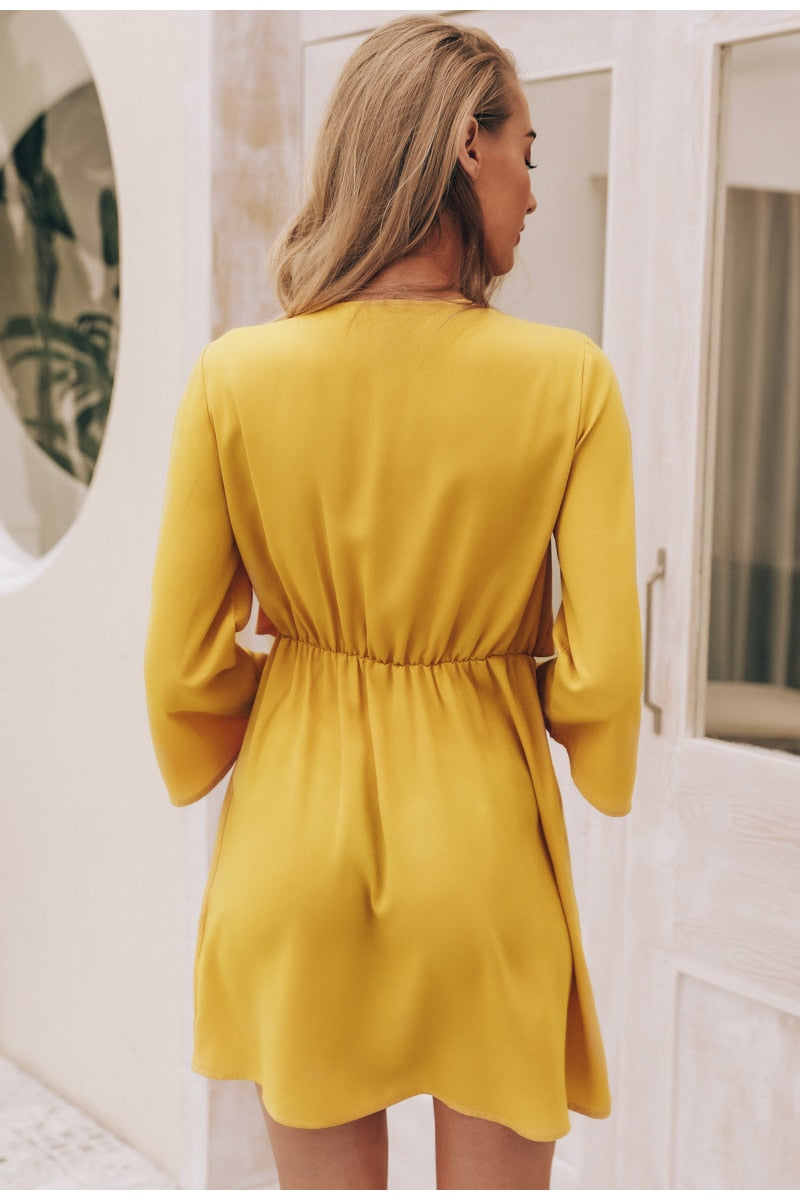 Vintage Long Sleeve Wrap Mini Dress