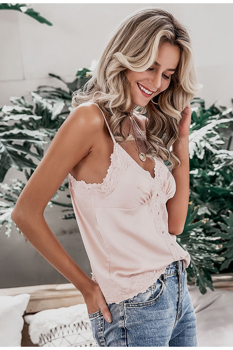 V-Neck Button Camis Spaghetti Strap Tank Top