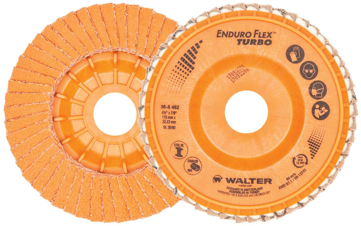 Depressed Centre Walter 06A462 4-1/2 Inch x 7/8 Inch Type 27 36/60 Grit Enduro-Flex Turbo Flap Disc