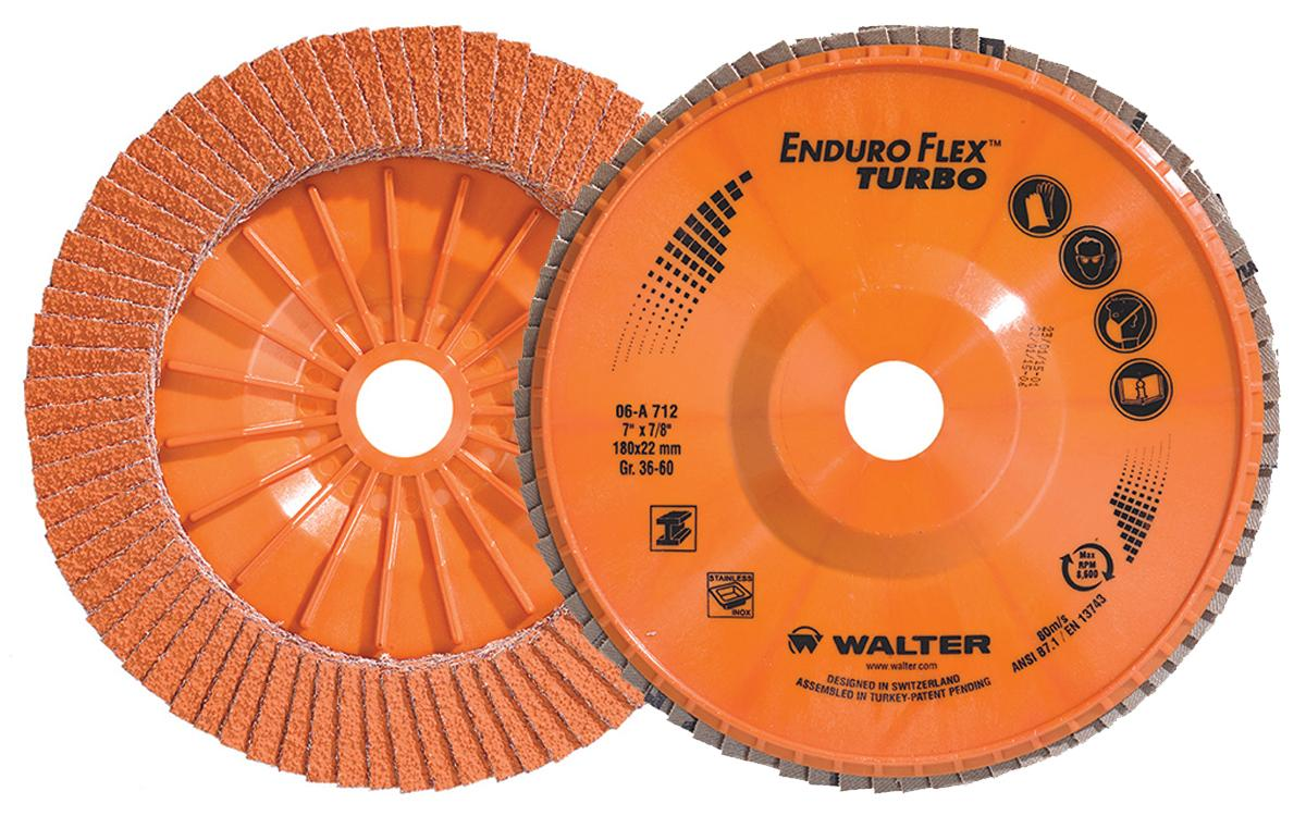 Depressed Centre Walter 06A712 7 Inch x 7/8 Inch Type 27 36/60 Grit Enduro-Flex Turbo Flap Disc