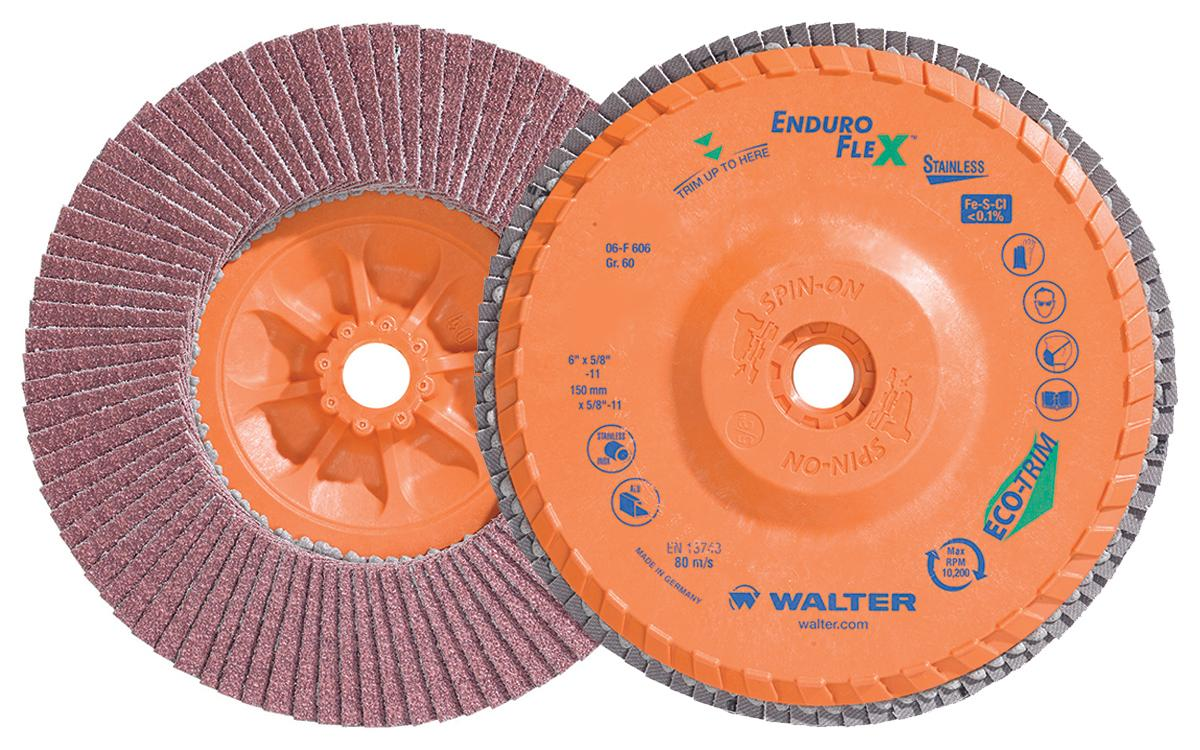 Depressed Centre Walter 06-F 606 6 Inch x 5/8 Inch - 11 Type 27 60 Grit Enduro-Flex Stainless Flap Disc