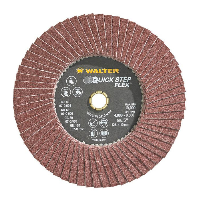 Quickchange Walter 07Q508 5 Inch x 10mm Quickchange 80 Grit Quick-Step Flex Flap Disc