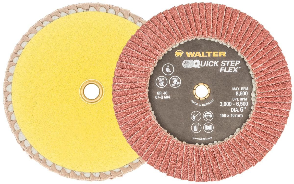 Quickchange Walter 07Q604 6 Inch x 10mm Quickchange 40 Grit Quick-Step Flex Flap Disc