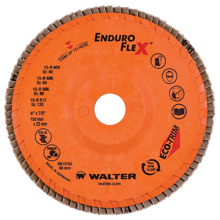 Depressed Centre Walter 15R604 6 Inch x 7/8 Inch Type 27 40 Grit Enduro-Flex Flap Disc