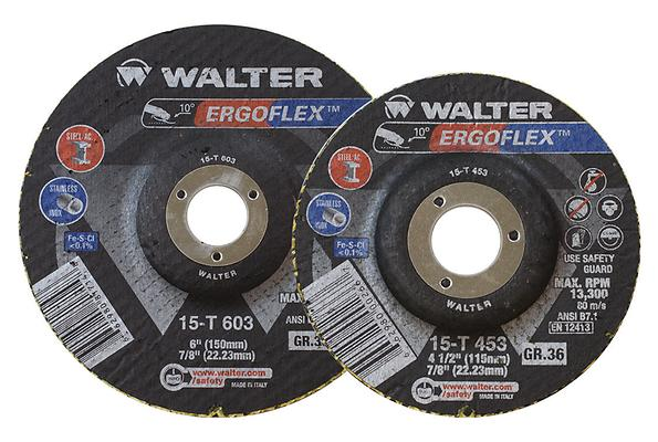 Type 29 Flexible Walter 15T603 6 Inch x 7/8 Inch Type 29 36 Grit Ergoflex Flap Disc