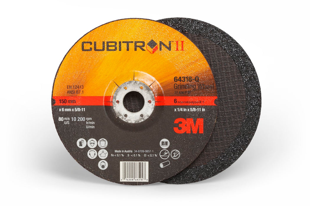 Depressed Centre 3M AB64318 Cubitron Ii Depressed Centre Grinding Wheel Quick Change 66593 T27 6 in x 1/4 in x 5/8-11 in
