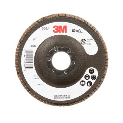 Depressed Centre 3M AB55368 4-1/2 Inch x 7/8 Inch Type 27 80 Grit 566A Zirconia Alumina Flap Disc