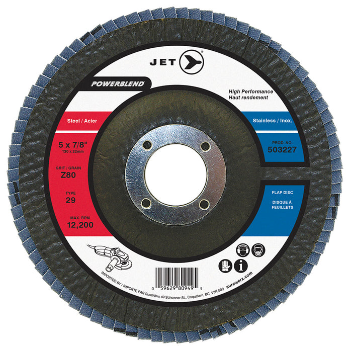 Type 29 Flexible JET 503227 5 Inch X 7/8 Inch Type 29 80 Grit Powerblend Zirconia Alumina Flap Disc