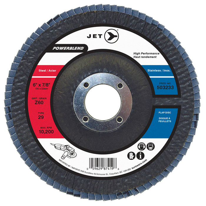 Flexible JET 503233 6 Inch X 7/8 Inch Type 29 60 Grit Powerblend Zirconia Alumina Flap Disc