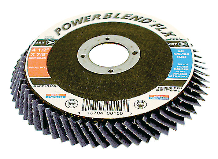 Type 29 Flexible JET 503313 4-1/2 Inch X 7/8 Inch Type 29 40 Grit Powerblend Flx Zirconia Alumina Flap Disc