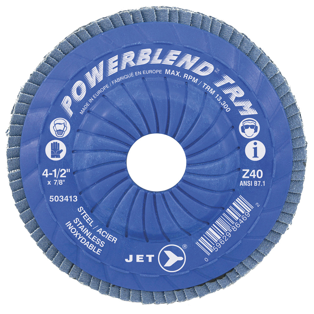 Type 29 Flexible JET 503423 5 Inch X 7/8 Inch Type 29 40 Grit Powerblend Zirconia Alumina Flap Disc