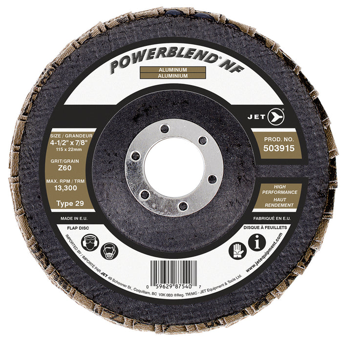 Type 29 Flexible JET 503915 4-1/2 Inch X 7/8 Inch Type 29 60 Grit Powerblend Nf Zirconia Alumina Flap Disc