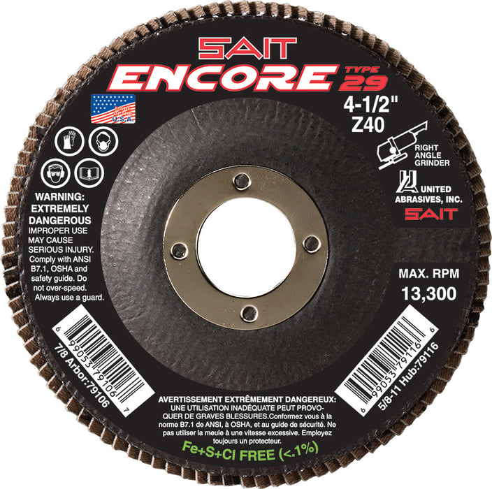 Type 29 Flexible Sait 79126 5 Inch X 7/8 Inch Type 29 40 Grit Encore Z Zirconia Alumina Flap Disc