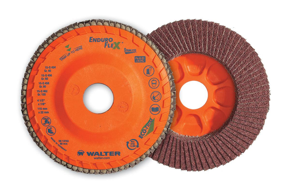 Depressed Centre Walter 15Q456 4-1/2 Inch x 7/8 Inch Type 27 60 Grit Enduro-Flex Stainless Flap Disc
