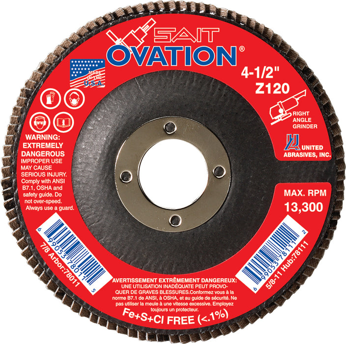 Depressed Centre Sait 78011 4-1/2 Inch X 7/8 Inch Type 27 120 Grit Ovation Z Zirconia Alumina Flap Disc