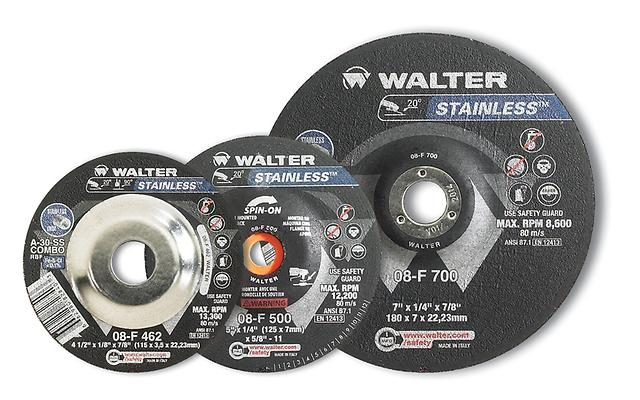Depressed Center Saucer Wheels Walter 08F451 4-1/2X1/4 Type 28 Ss Spin-On