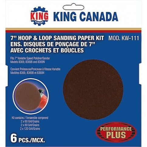 Velcro Discs King Canada KW-111 7 Inch X Non-Vacuum Pack Grit Velcro Disc