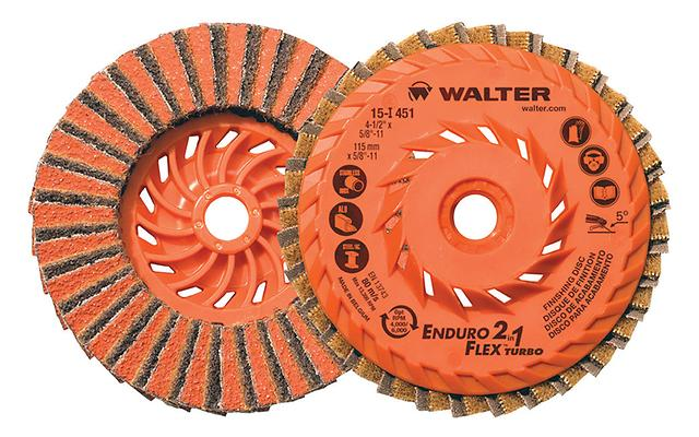 2-in-1 Flap Discs Walter 15I451 4-1/2 Inch x 5/8 Inch - 11 2-In-1 Duo Grit Enduro-Flex Turbo Flap Disc