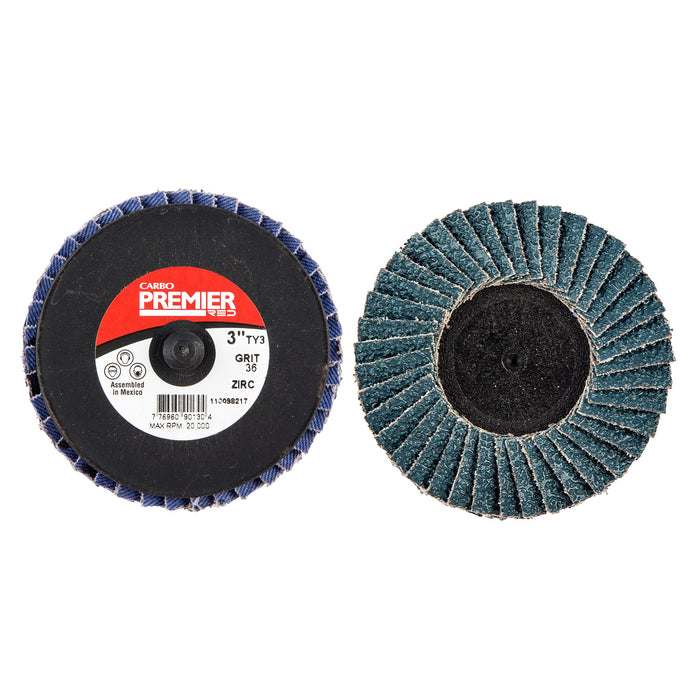90130 3 X Mini Quick-change 36 Grit Premier Red XC1176 Zirconia Alumina Flap Disc