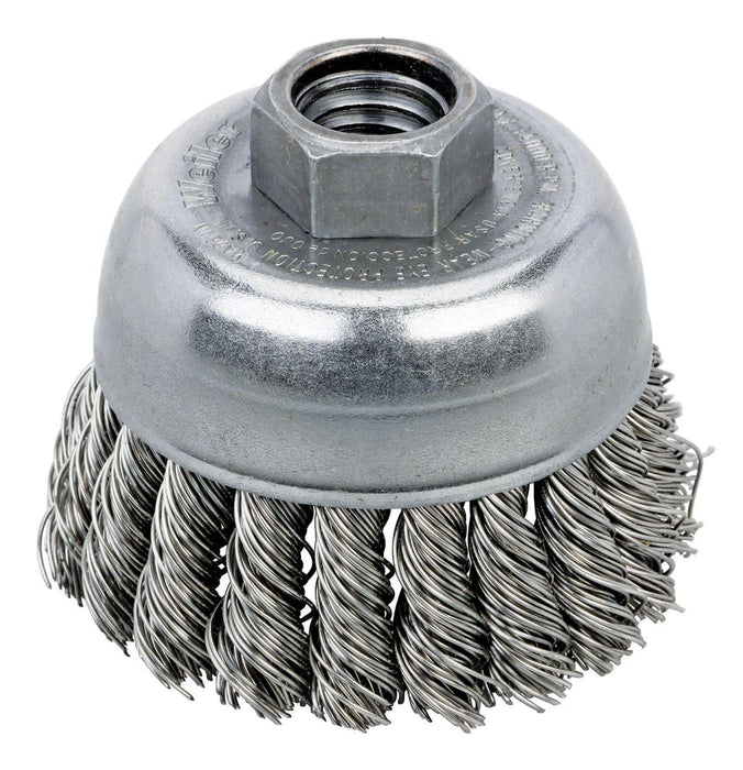 Cup Brushes Dynabrade 78823 Knot Wire Cup Brush 2-3/4 Inch (70 mm) Diameter X .020 X 5/8 Inch-11 Unc Ah Stainless Steel