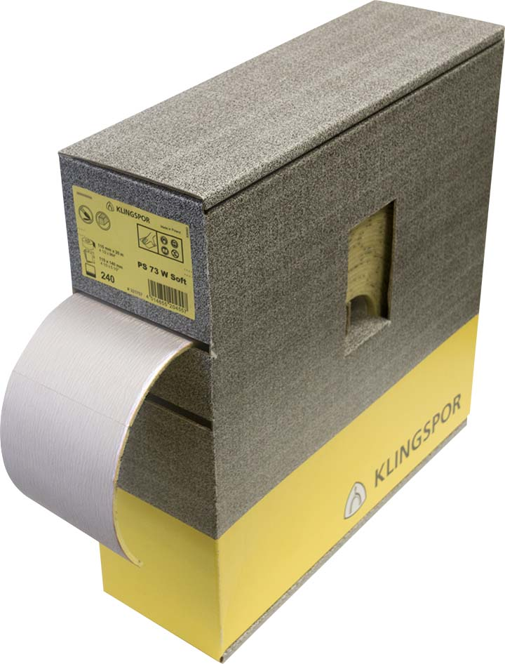 Plain Klingspor 321755 4-1/2 X 25M 120 Grit Ps73Cwf Aluminum Oxide Perforated Paper Roll