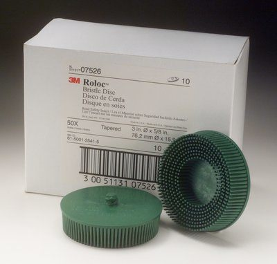 SB07526 Scotch-Brite Rolloc Bristle Disc 07526 3 in x 5/8 Tapered Coarse 10 Brushes Per Box 4 Box