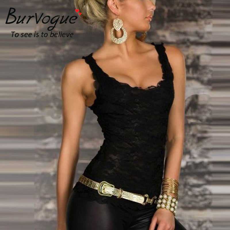 Burvogue HOT Sales Beauty Online New Women Clubwear Tops New Sexy Exquisite Black  Lace Tank Top