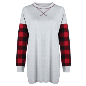 Open image in slideshow, Women Plaid Patchwork Loose Long Sleeve T-Shirt O-neck Pullover Blouse Tops