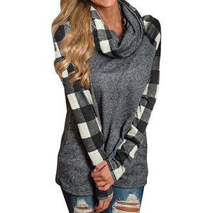 Open image in slideshow, Womens Turtleneck Tops Plaid Shirts Tunic Long Sleeve Pullover Sweatshirt