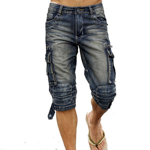 Open image in slideshow, Idopy Casual Men's Cargo Denim Shorts Retro Vintage Washed Slim Fit Jean Shorts Mulit-Pockets Military Biker Shorts For Men