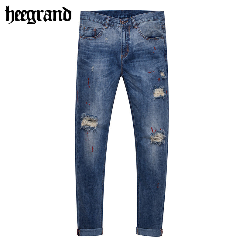 HEE GRAND 2018 New Spring Hot Sell Men Distressed Jeans Man's 100% Cotton Denim Pants With Holes MKN901