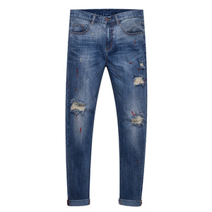 Open image in slideshow, HEE GRAND 2018 New Spring Hot Sell Men Distressed Jeans Man's 100% Cotton Denim Pants With Holes MKN901