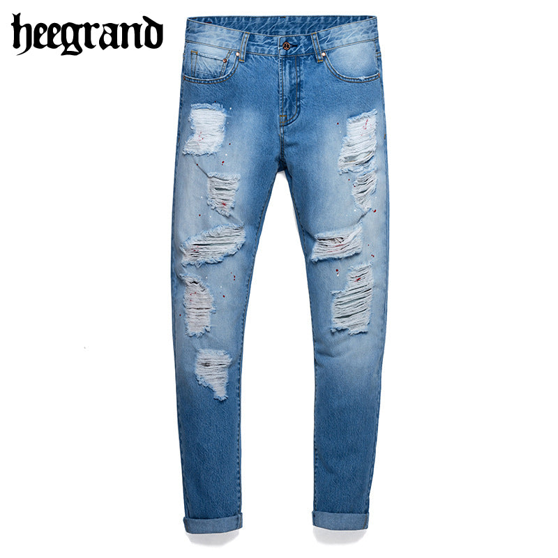 HEE GRAND 2018 New Spring Man's Classic Destroyed Jeans Male Distressed Denim Pants With Zippers MKN910