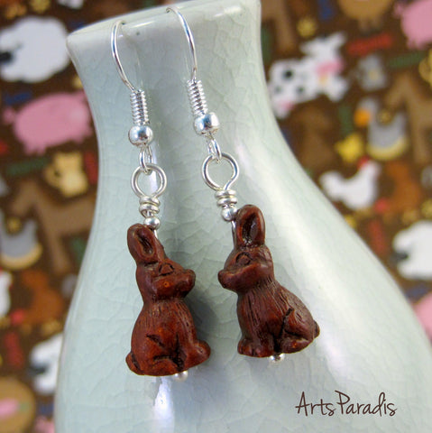 Small Spring Easter Bunny Rabbit Lover Brown Ceramic Dangle Earrings by ArtsParadis