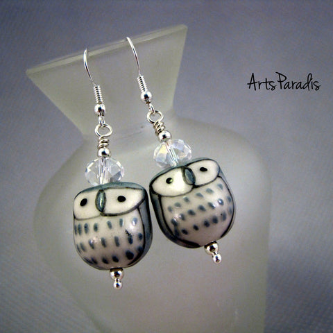 Grey and White Ceramic Hoot Owl with Crystal Dangle Earrings by ArtsParadis