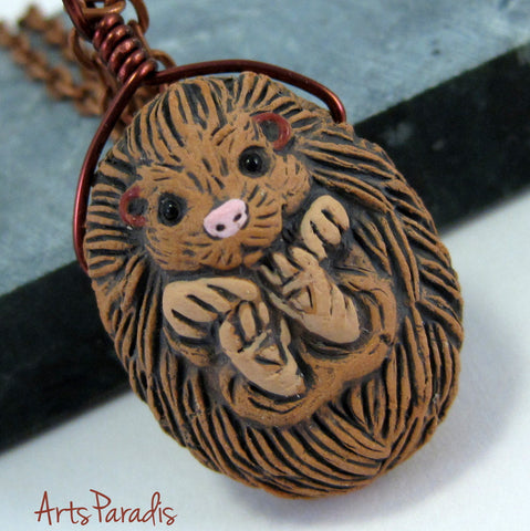 Ceramic Pet Hedgehog Pendant Dangle Copper Necklace by ArtsParadis - Curled Up Detailed Animal