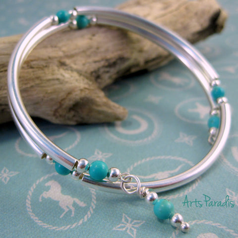 Southwestern Turquoise Natural Stone and Sterling Silver-Plated Wrap Bracelet by ArtsParadis
