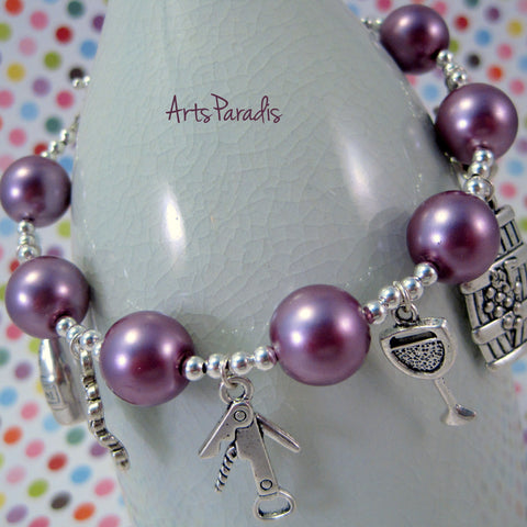 Wine Grape Lover Purple and Silvertone Glass Pearl Charm Bracelet by ArtsParadis