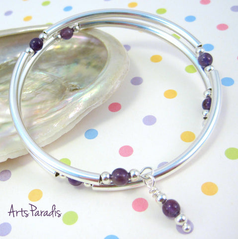Amethyst Natural Stone and Sterling Silver-Plated Wrap Bracelet by ArtsParadis - February Birthstone