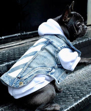 Load image into Gallery viewer, Woof-White Denim Jacket - Supreme Paw Supply