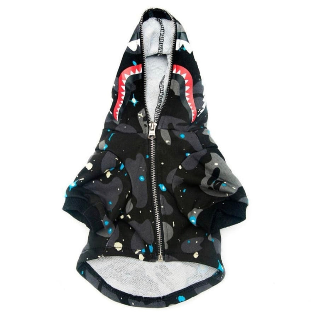 Bathing Pup Space Gray Shark Dog Hoodie - Supreme Paw Supply