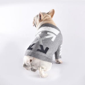 Woof-White Knit Dog Sweater - Supreme Paw Supply